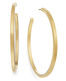 Textured C-Hoop Earrings in 14k Gold Vermeil over Sterling Silver