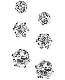 Anne Klein Silver-Tone Glass Stone Stud Earring Set