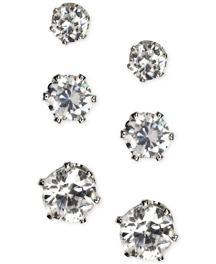Anne Klein - Silver-Tone Glass Stone Stud Earring Set