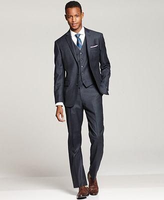 Ryan Seacrest Distinction Blue Flannel Three-Piece Suit Separates
