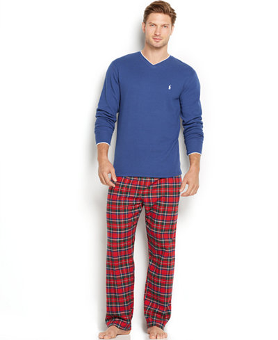 Polo Ralph Lauren Men's Tipped Thermal V-Neck and Plaid Flannel Pants