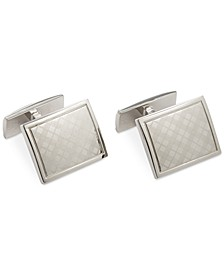 Polished Rhodium Laser Engraved Plaid Cufflink