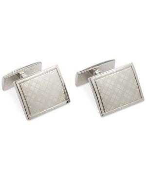 Ryan Seacrest Distinction Polished Rhodium Laser Engraved Plaid Cufflink thumbnail