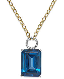 Blue Topaz (26 ct. t.w.) and Diamond (1/6 ct. t.w.) Statement Necklace in 14k Gold