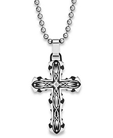 Diamond Accent Tribal Cross Pendant Necklace in Stainless Steel