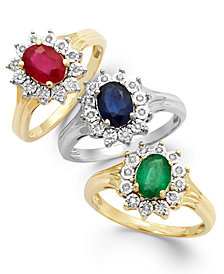 Gemstone and Diamond Accent Ring in 10k Gold