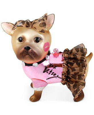 Betsey Johnson Brown Dog Leopard Tutu Ornament Jewelry