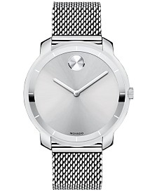 Movado Unisex Swiss Bold Stainless Steel Mesh Bracelet Watch 36mm 3600241