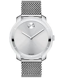 Movado Unisex Swiss Bold Stainless Steel Mesh Bracelet Watch 36mm 3600241