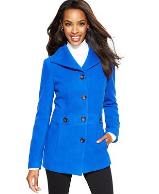 JM Collection Single-Breasted Pea Coat - Coats - Women - Macy's