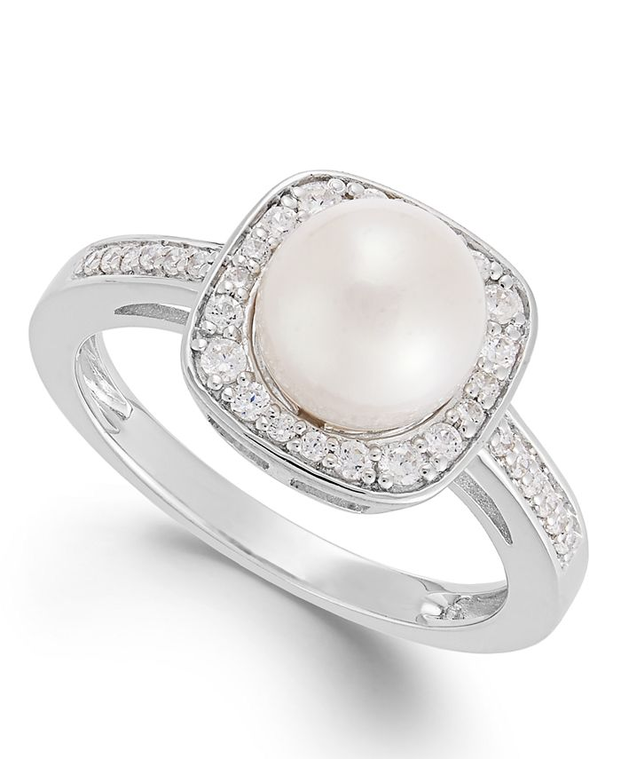 Macy's - Cultured Freshwater Pearl (8mm) and Diamond (1/4 ct. t.w.) Ring in 14k White Gold