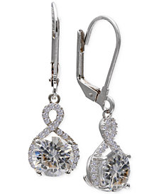Giani Bernini Cubic Zirconia Infinity Leverback Earrings in Sterling Silver
