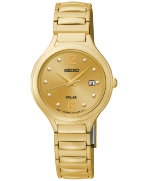 Seiko Women's Solar Gold-Tone Stainless Steel Bracelet Watch 28mm SUT180