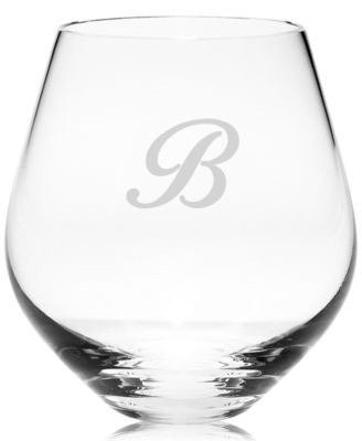 Tuscany Monogram Stemware, Set of 4 Script Letter Stemless Red Wine Glasses