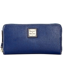 Saffiano Leather Large Zip Around Wallet
