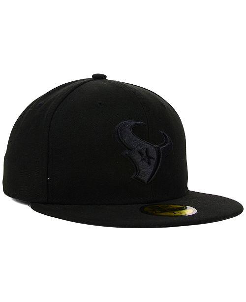 wholesale dealer f3f4d e3923 ... New Era Houston Texans NFL Black on Black 59FIFTY Fitted Cap ...