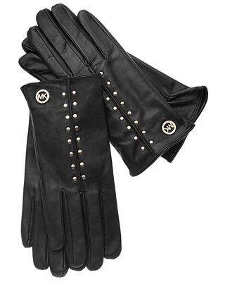 michael michael kors leather astor studded gloves with. Black Bedroom Furniture Sets. Home Design Ideas
