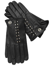 MICHAEL Michael Kors Leather Astor Studded Gloves with Touch Tips