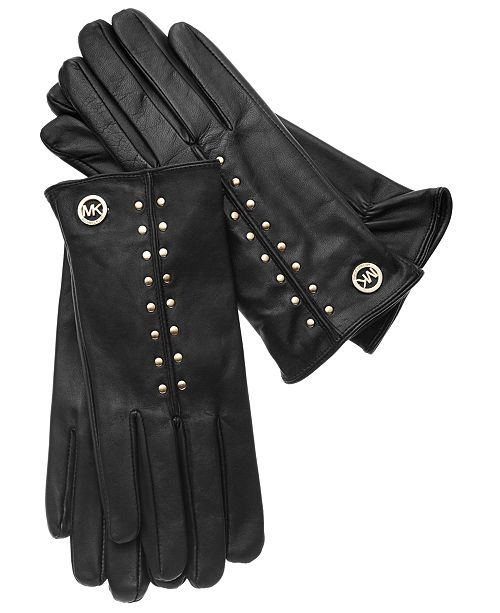 Michael Kors Leather Astor Studded Gloves with Touch Tips