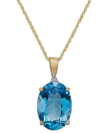 Blue Topaz (7 ct. t.w.) and Diamond Accent Oval Pendant Necklace in 14k Gold