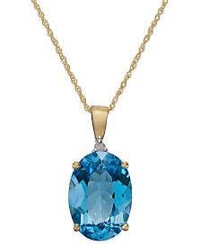 Blue topaz necklaces macys blue topaz 7 ct tw and diamond accent oval pendant necklace in 14k mozeypictures Images