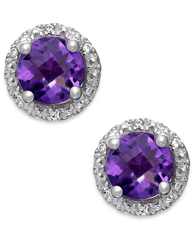 Amethyst (1-3/4 ct. t.w.) and Diamond Accent Halo Stud Earrings in 14K White Gold