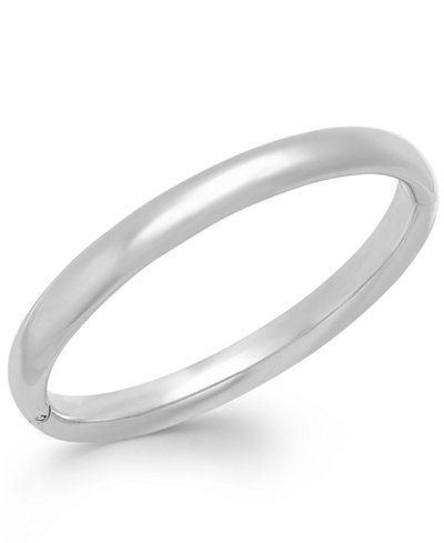 Signature Gold Polished Bangle Bracelet In 14k White Gold