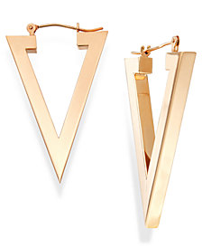 Triangle Hoop Earrings in 14k Gold, 1 1/8 inch
