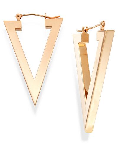 Triangle Hoop Earrings In 14k Gold Earrings Jewelry