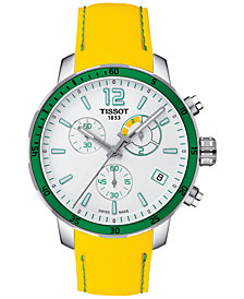 Tissot Men's Swiss Chronograph Quickster Yellow Rubber Strap Watch 42mm T0954491703701
