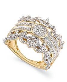 Diamond Vintage Crown Ring in 14k Gold (3/4 ct. t.w.)