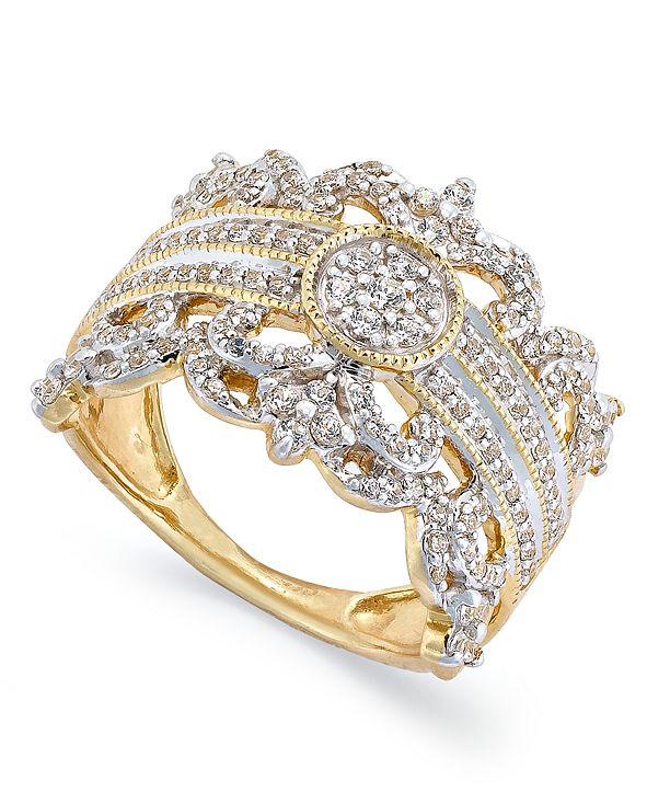 Macy's Diamond Vintage Crown Ring in 14k Gold (3/4 ct. t.w.)