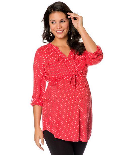 fca2e04bb3 Motherhood Maternity Tab-Sleeve Dot-Print Tunic Top   Reviews ...