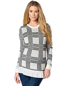 Central Park West Maternity Plaid Ruffle-Hem Sweater