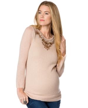 Design History Maternity Beaded Keyhole Sweater plus size,  plus size fashion plus size appare
