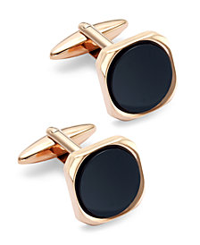 Sutton by Rhona Sutton Rose Gold-Tone Stainless Steel and Jet Stone Cuff Links