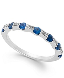 Sapphire (1/2 ct. t.w.) and Diamond Accent Band in 14k White Gold