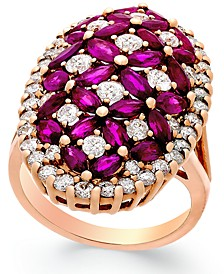 Ruby (4 ct. t.w.) and Diamond (1-3/4 ct. t.w.) Ring in 14k Rose Gold