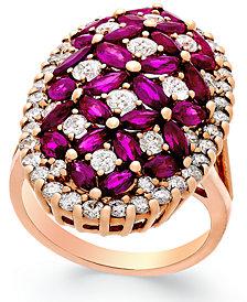 Ruby (4 ct. t.w.) and Diamond (1-3/4 ct. t.w.) Ring in 14k Rose Gold