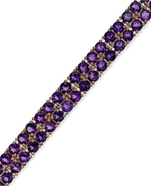Macy's Amethyst Two-Row Bracelet in 14k Rose Gold over Sterling Silver (14-1/10 ct. t.w.)