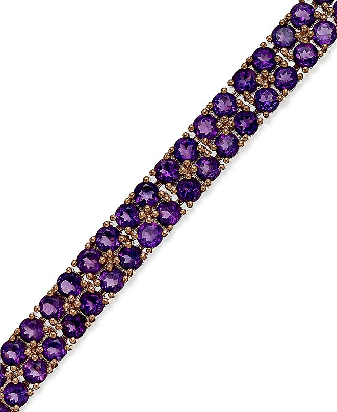 Macy's Amethyst Two-Row Bracelet in 14k Rose Gold over Sterling Silver (14-1/10 ct. t.w.)