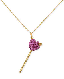 Simone I. Smith Pink Crystal Heart Lollipop Small Pendant Necklace in 18k Gold over Sterling Silver