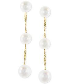 Effy Cultured Freshwater Pearl Triple Drop Earrings In 14k Yellow White Or Rose Gold
