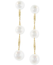 EFFY® Cultured Freshwater Pearl Triple Drop Earrings in 14k Yellow, White or Rose Gold (5mm)