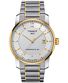 Tissot Men's Swiss Automatic Two-Tone Titanium Bracelet Watch 40mm T0874075503700