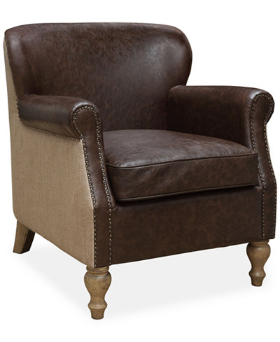 Chelsie Faux-Leather & Fabric Accent Chair, Quick Ship