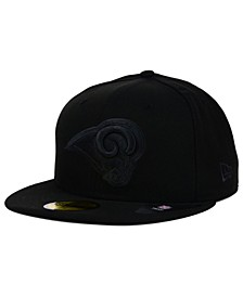Los Angeles Rams Black on Black 59FIFTY Fitted Cap