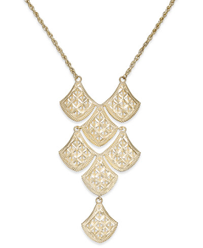 Diamond-Cut Mesh Linked Frontal Necklace in 14k Gold
