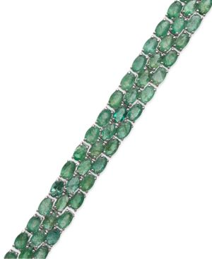 Emerald Three-Row Bracelet in Sterling Silver (25 ct. t.w.), Created for Macy's