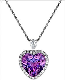 Arabella Purple and Clear Swarovski Zirconia Heart Necklace in Sterling Silver